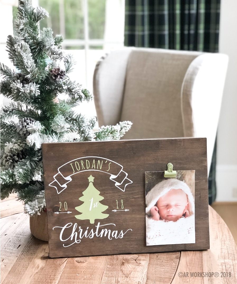 babys first christmas tree wood photo frame