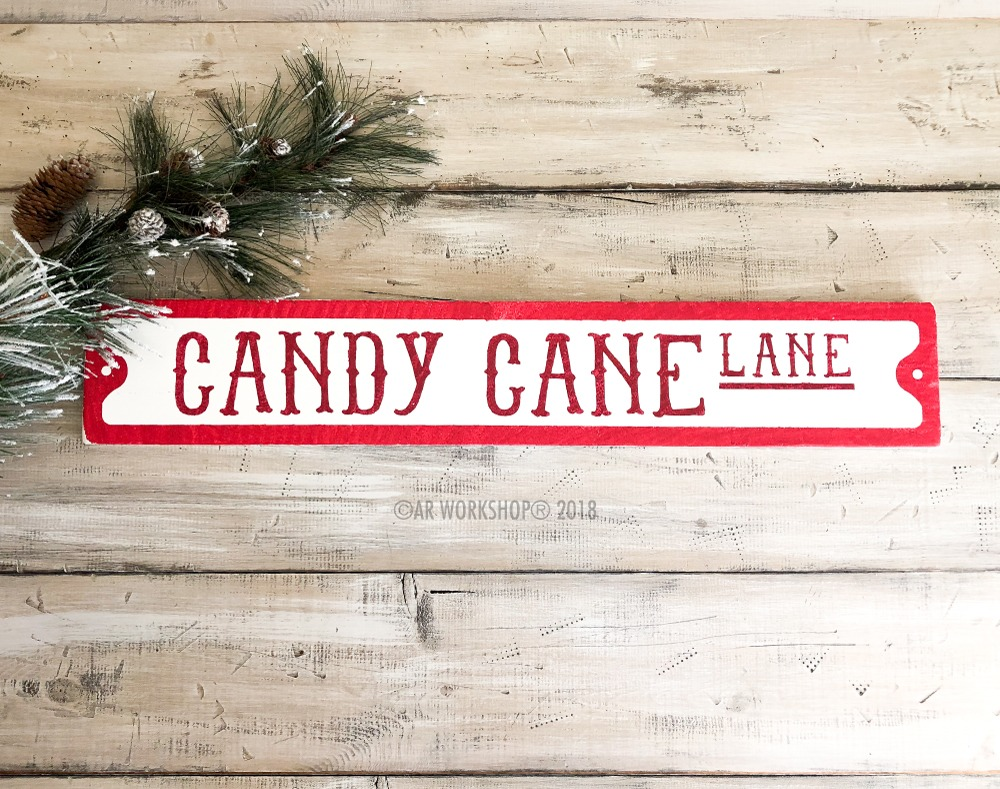 Candy Cane Lane Street Sign 6x32