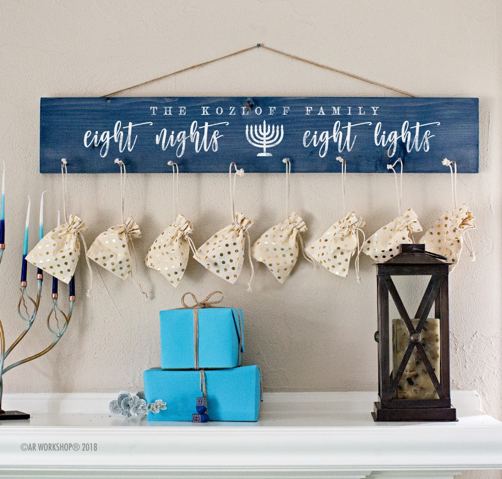 eight nights eight lights hanukkah family countdown plank sign 6x32