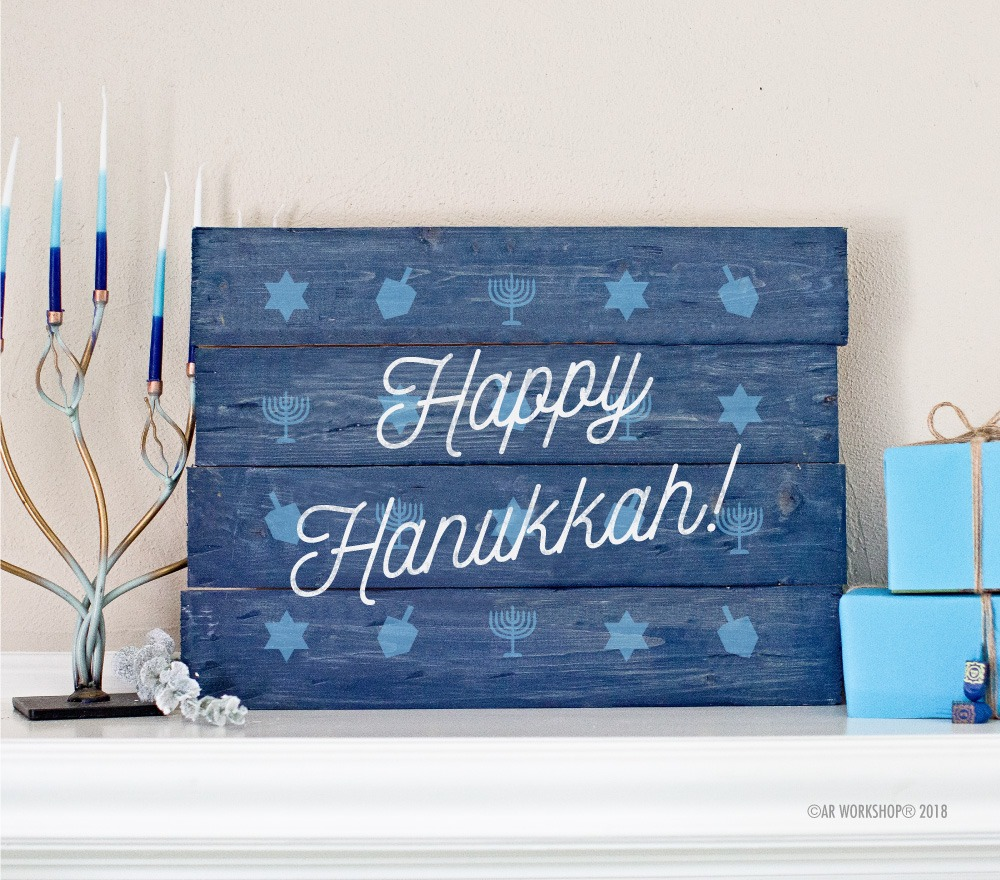 happy hanukkah pattern plank sign 14x19