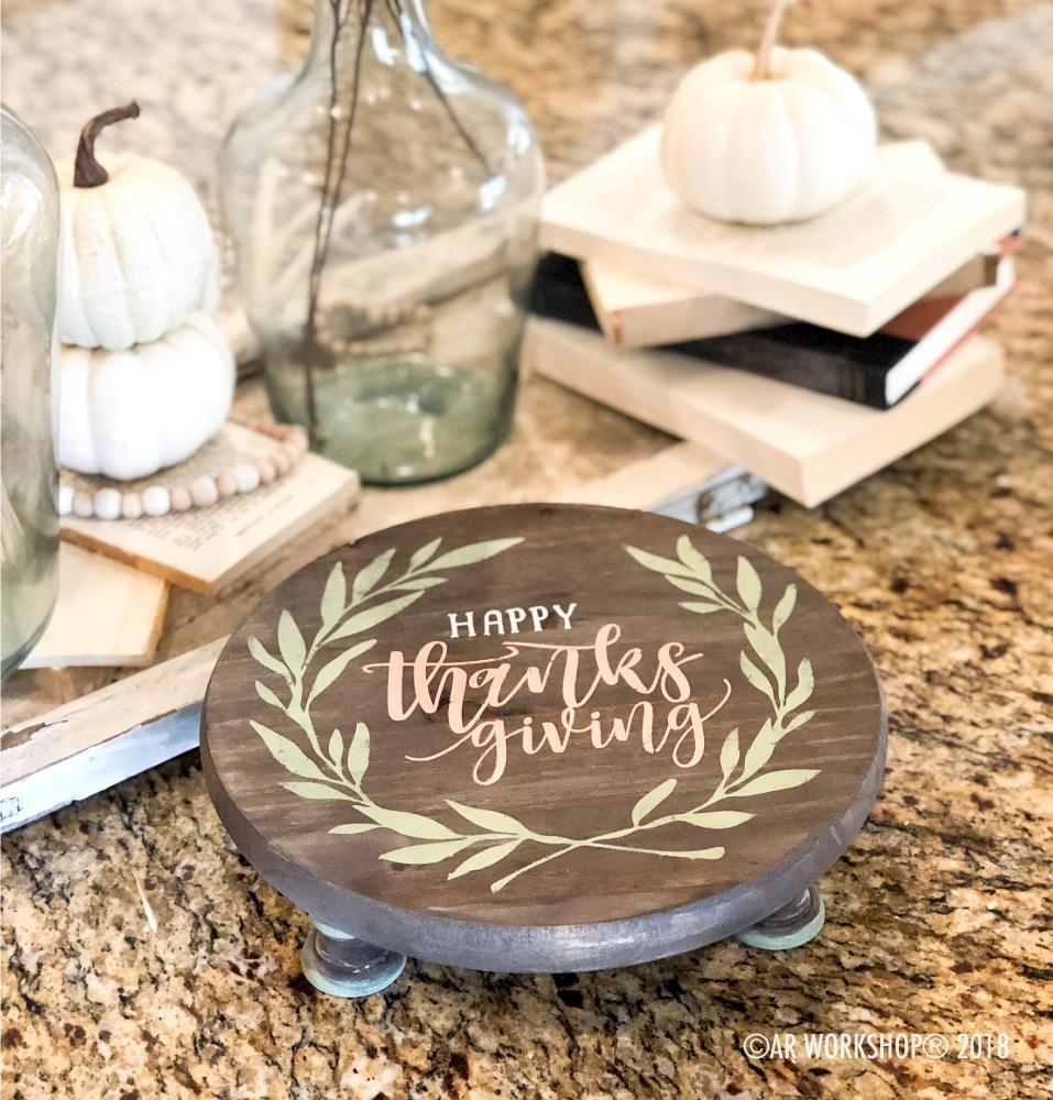 Happy Thanksgiving Laurel Wreath round pedestal tray