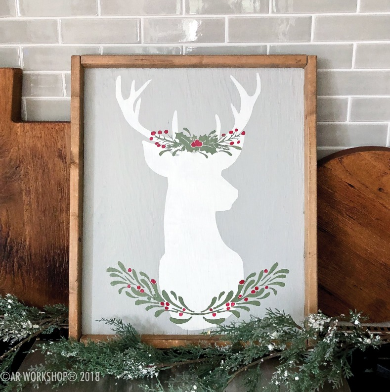holly berry deer silhouette framed sign 18x21