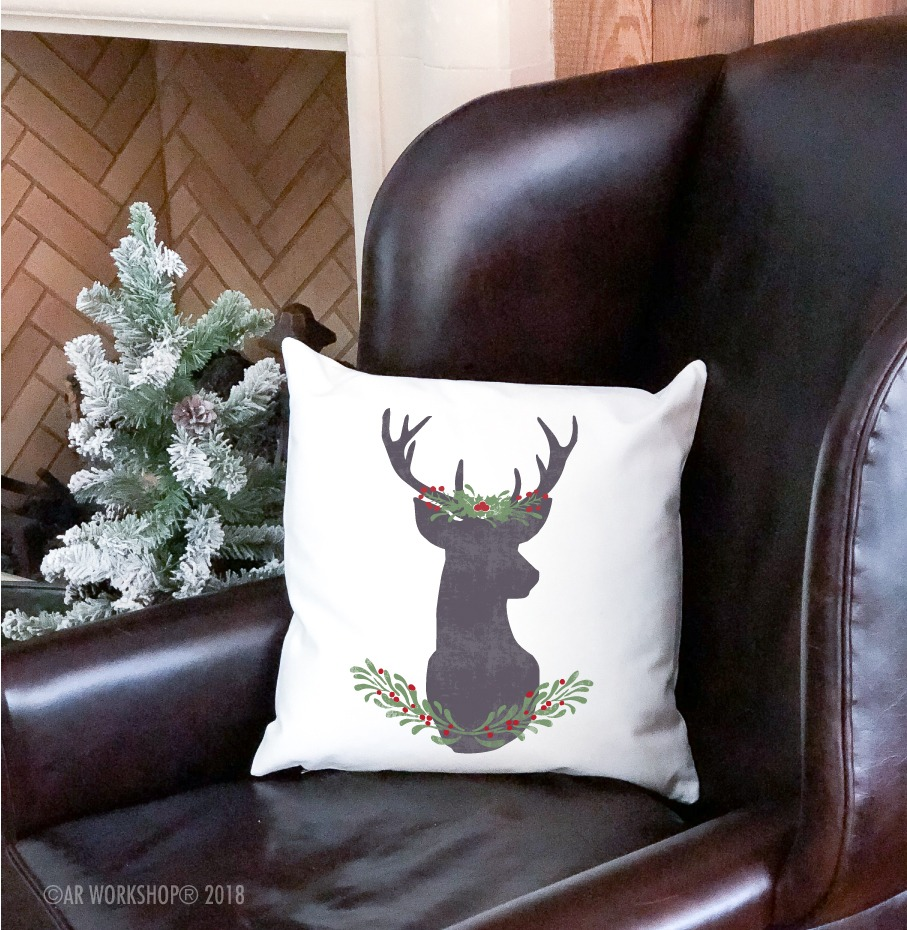 holly berry deer silhouette pillow
