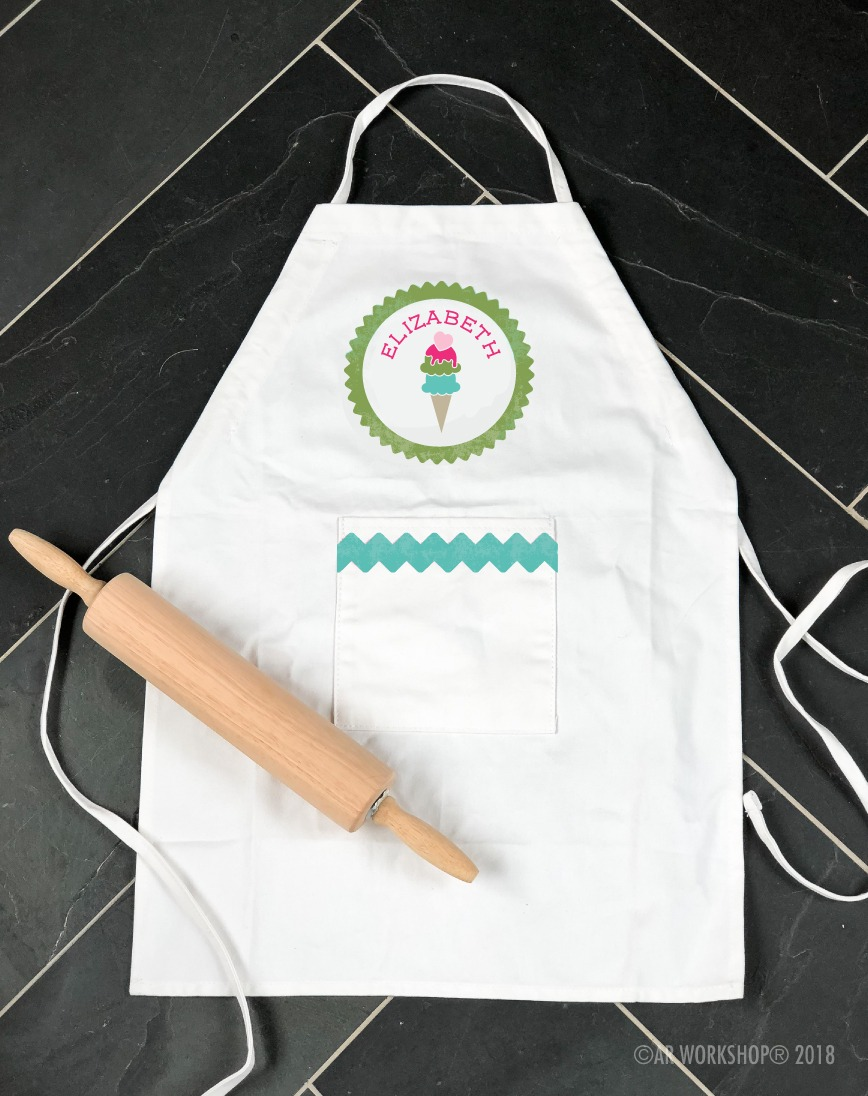 ice cream cone name kids apron