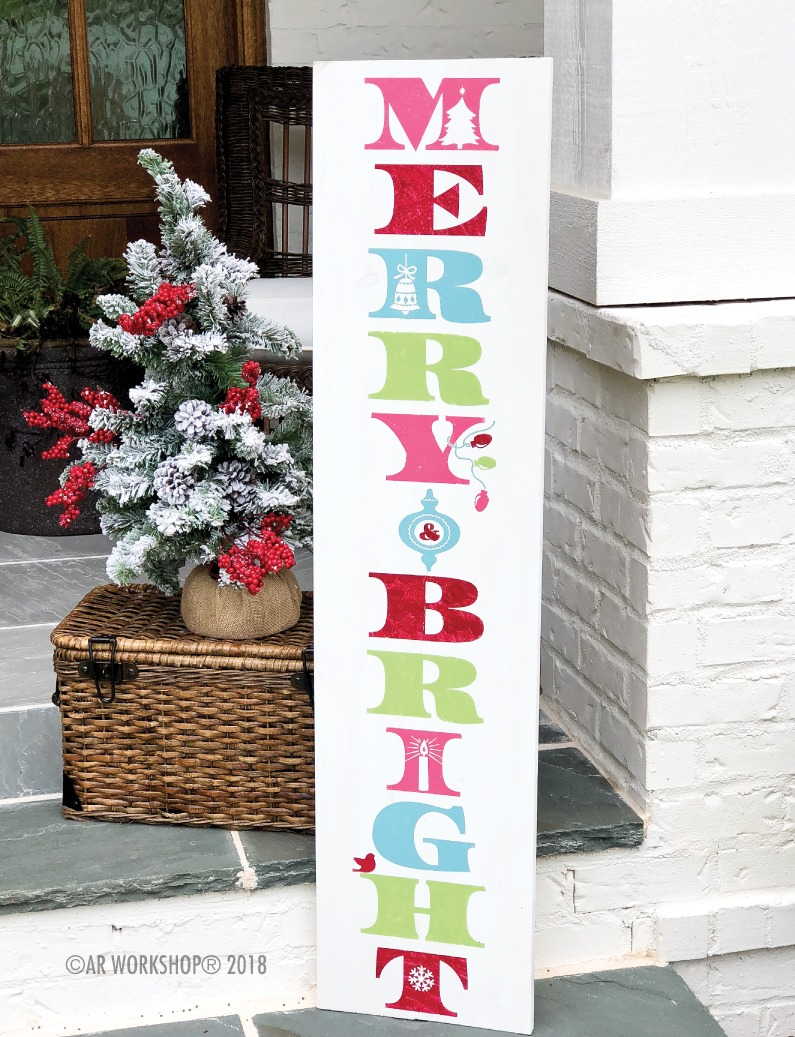 merry and bright porch sign 12x48