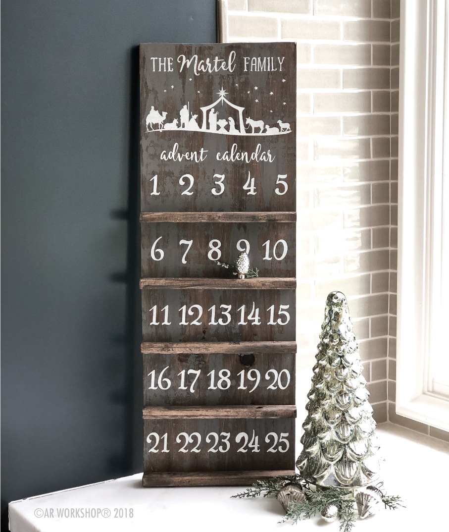 nativity scene advent calendar countdown shelf 12x32 (ornament not included)