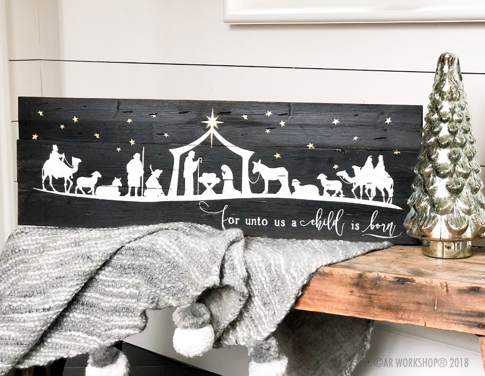 nativity scene child is born plank sign 10.5x32