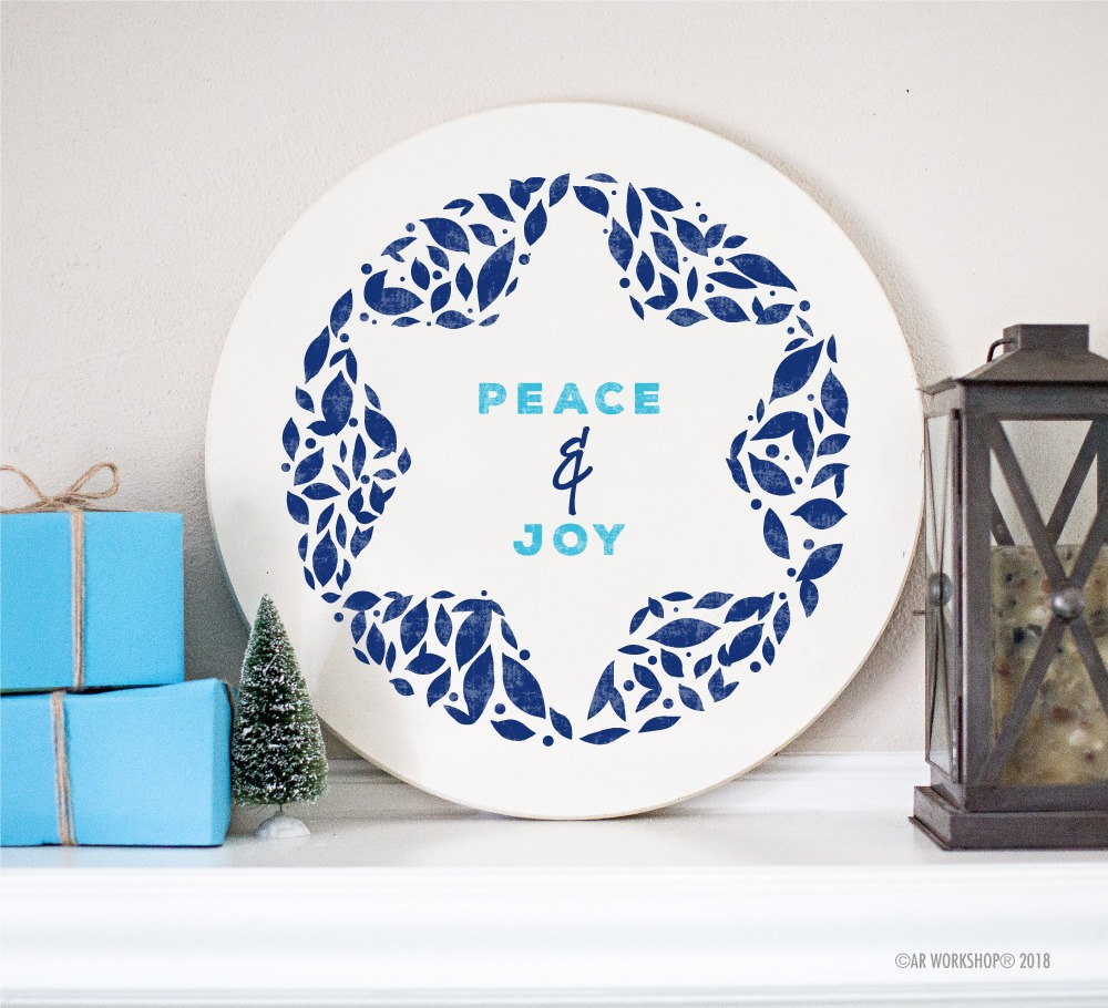 peace and joy hanukkah round sign