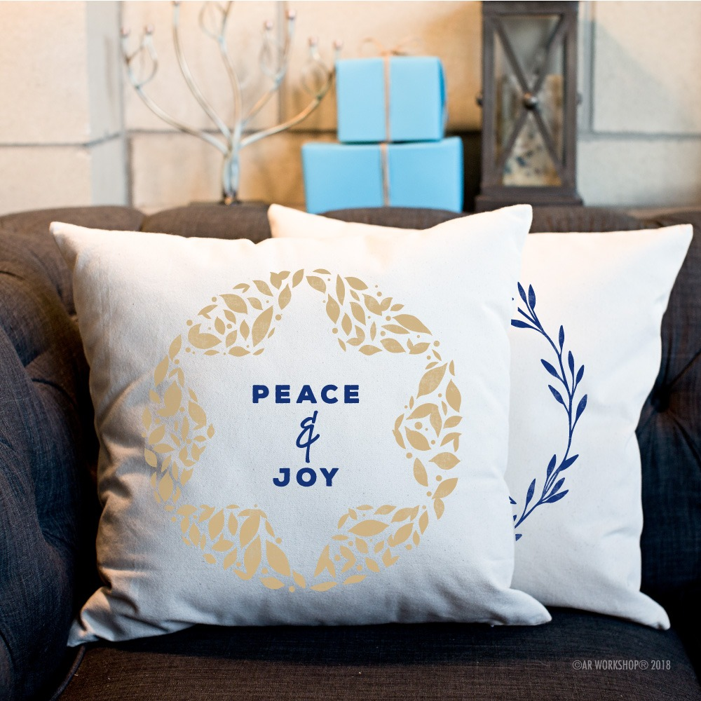 peace and joy hanukkah pillow