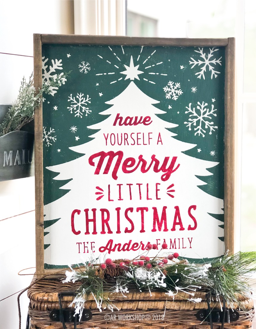 tree merry little christmas family framed sign 18x21