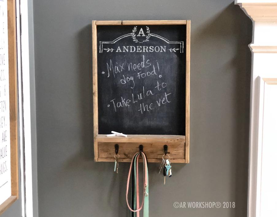 family crest chalkboard organizer