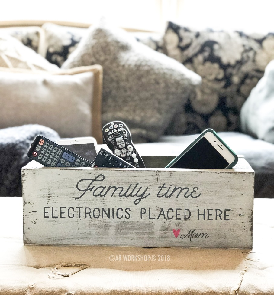 family time electronics organizer box 16""