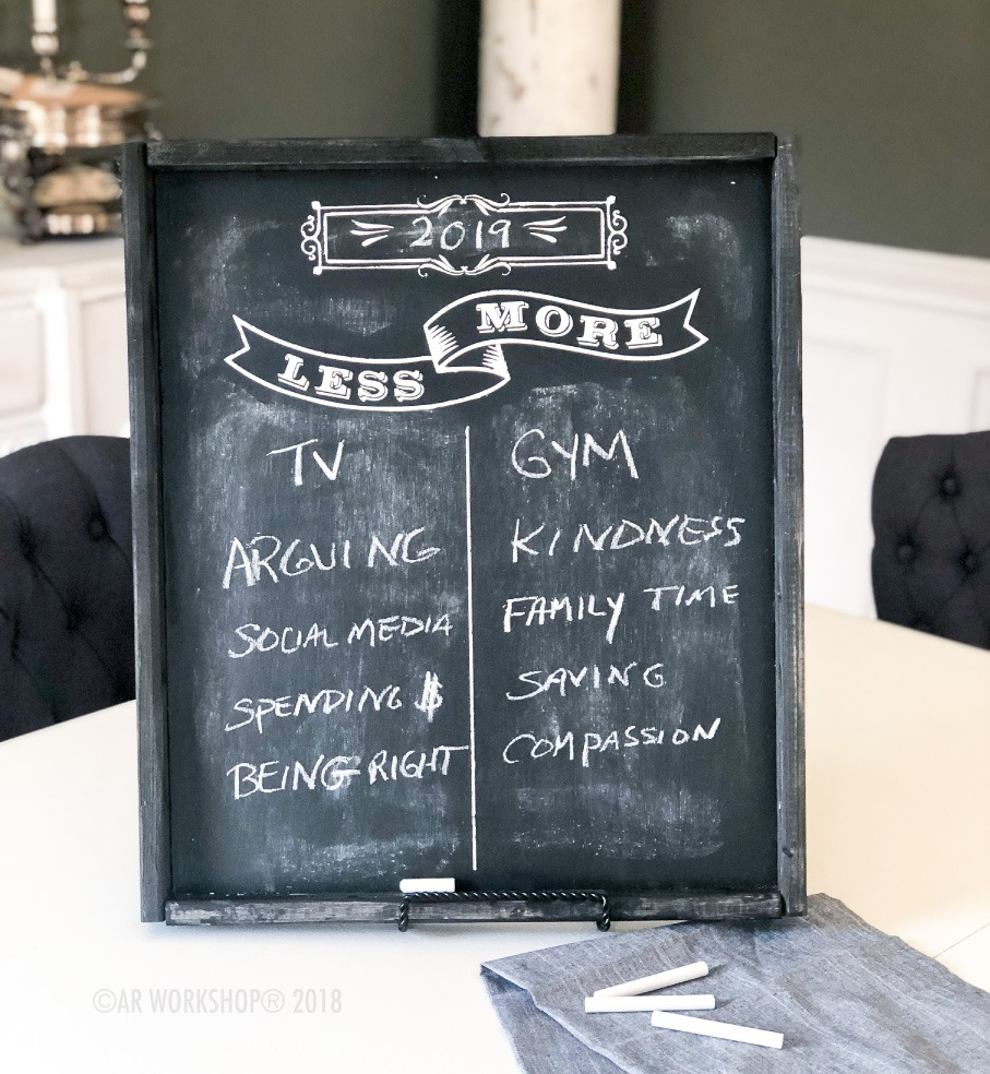 less more chalkboard framed sign 18x21