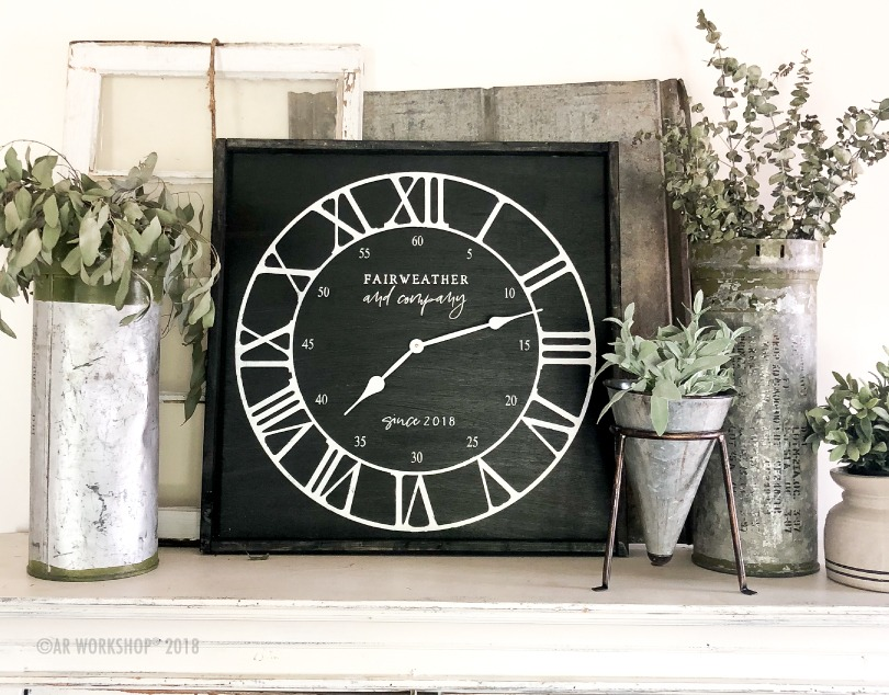 modern roman numeral clock framed 26x26