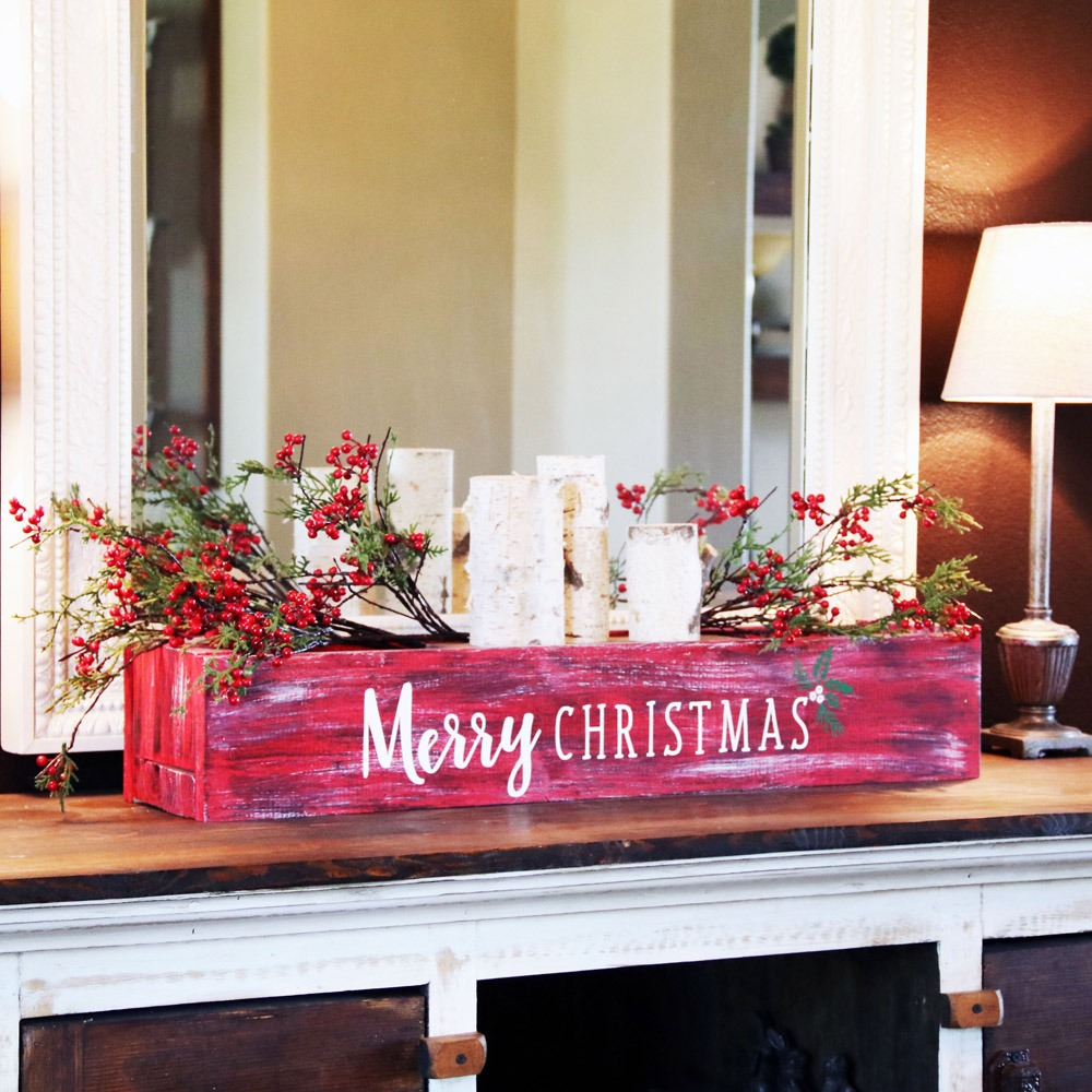merry christmas holly centerpiece box