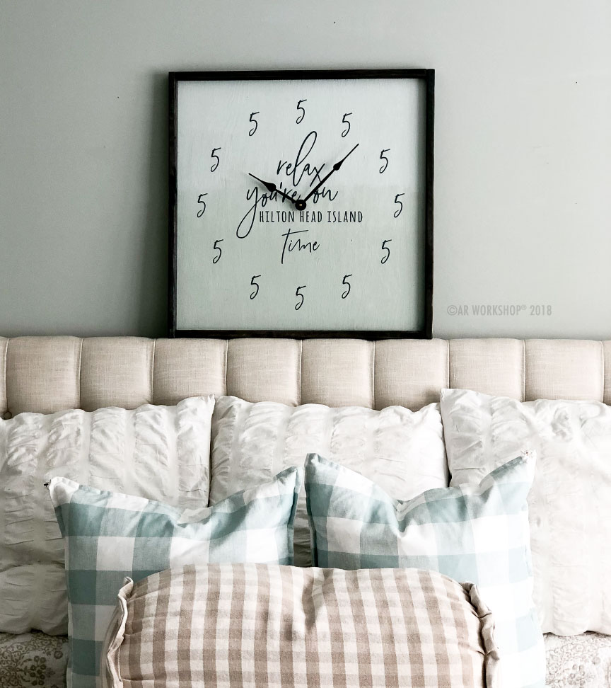 5 o'clock relax time framed clock 26x26
