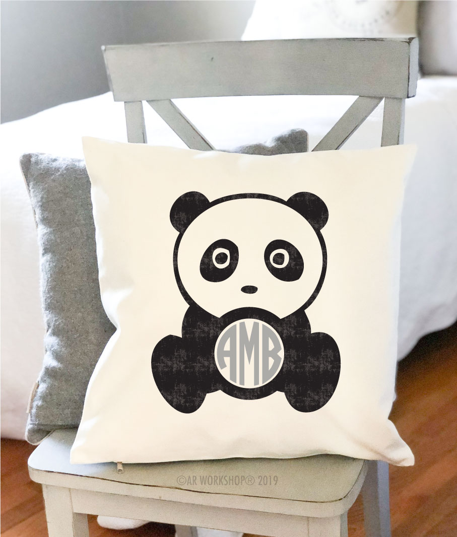 baby panda monogram pillow