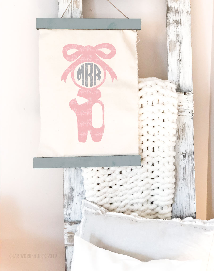 ballet slippers monogram canvas wall hanging
