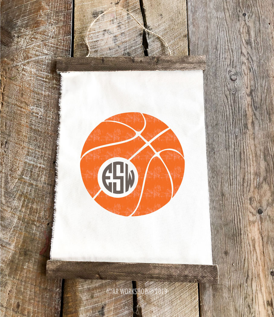basketball monogram canvas wall hanging
