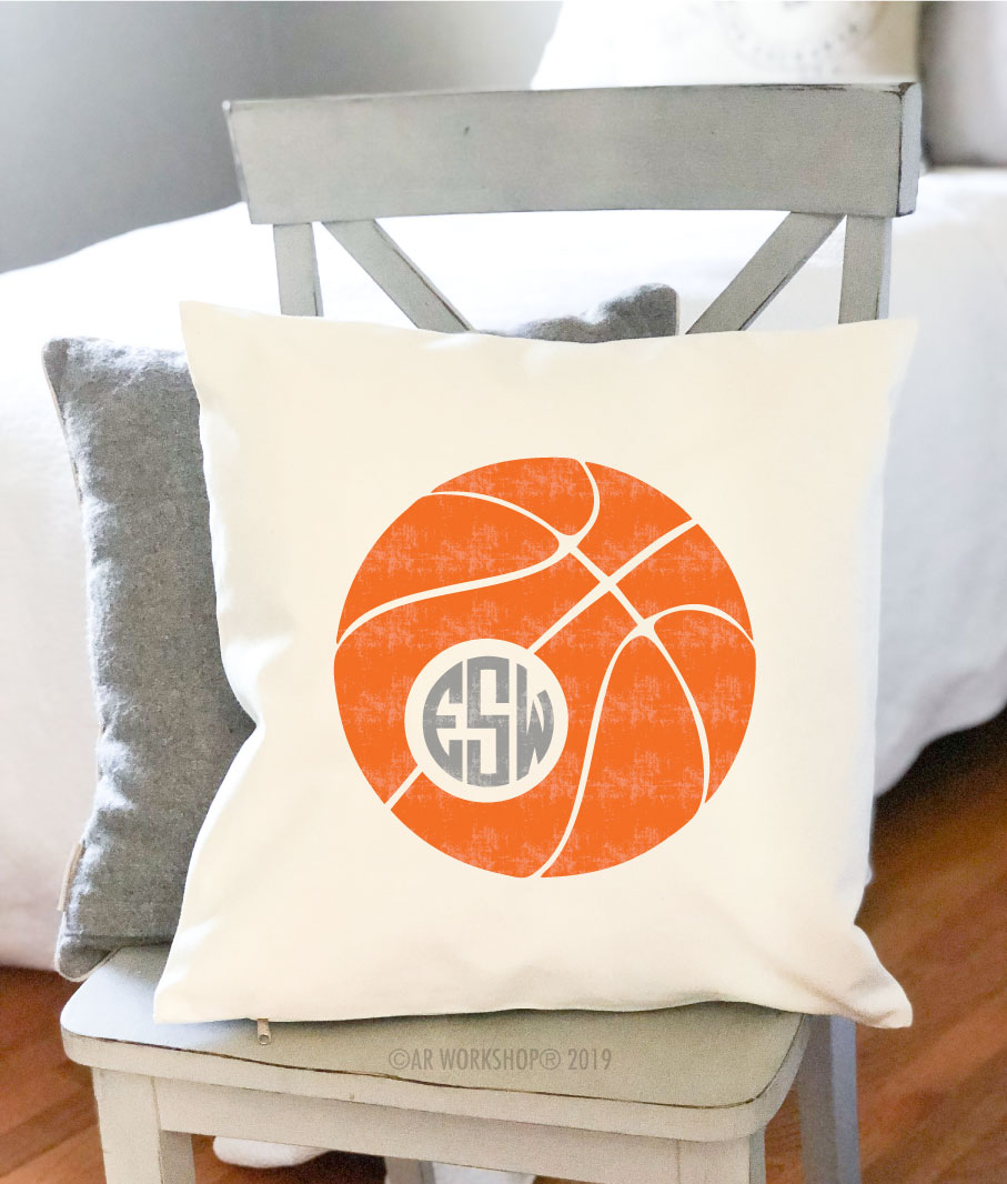 basketball monogram pillow