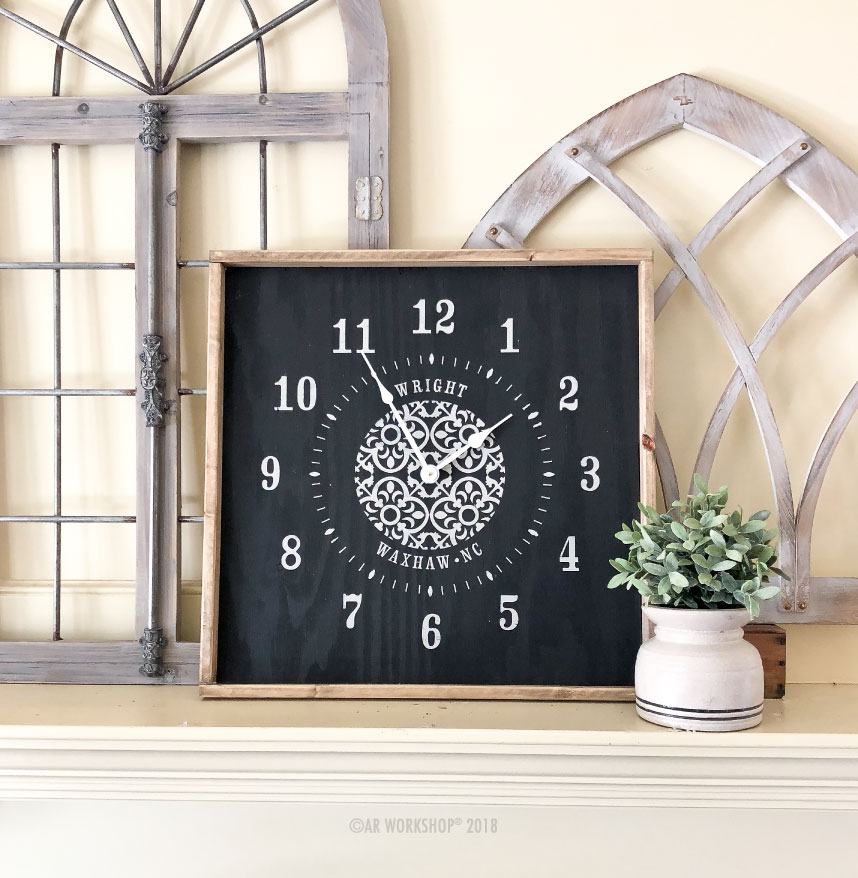 boho medallion framed clock 26x26