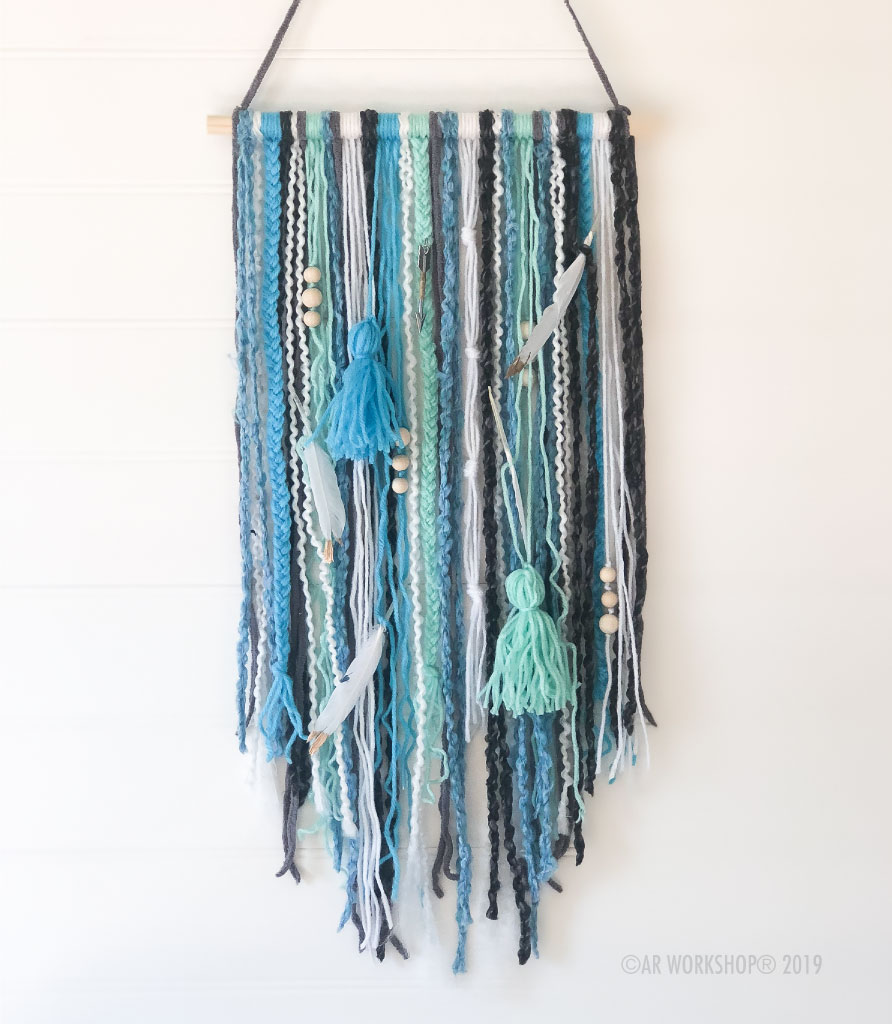 boho textile wall hanging blues