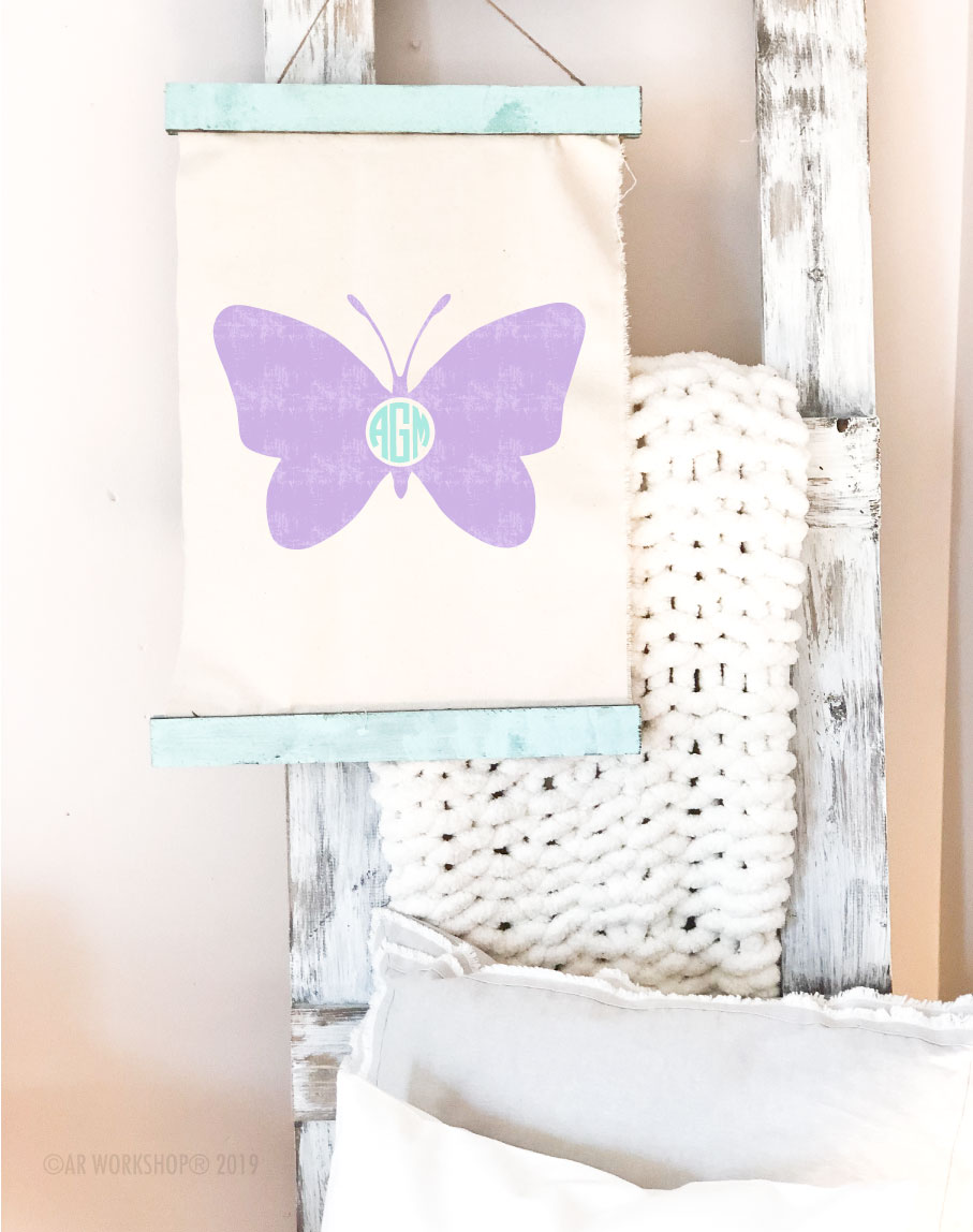 butterfly monogram canvas wall hanging