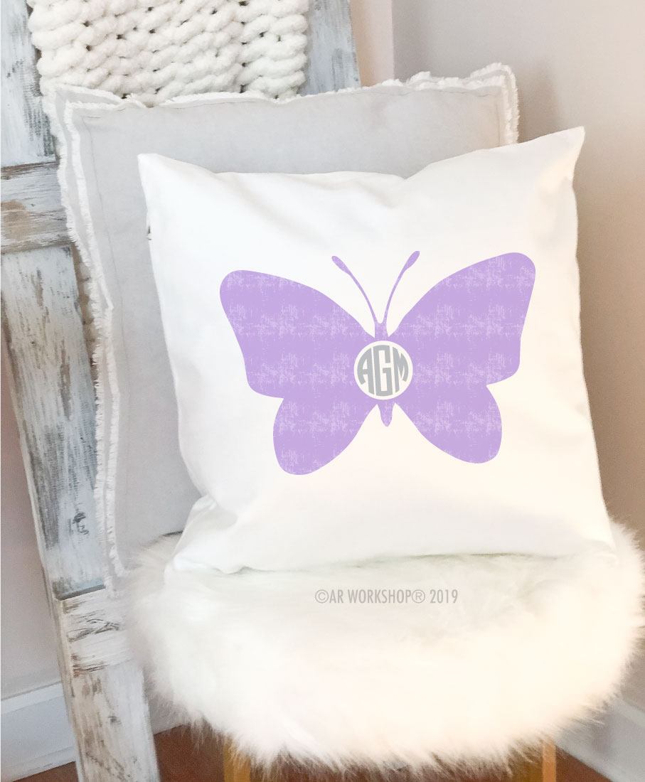butterfly monogram pillow
