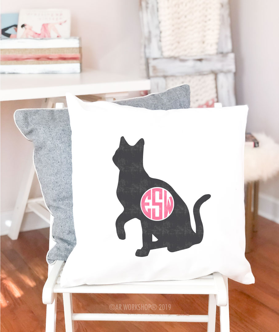 cat monogram pillow