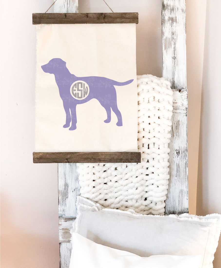 dog monogram canvas wall hanging