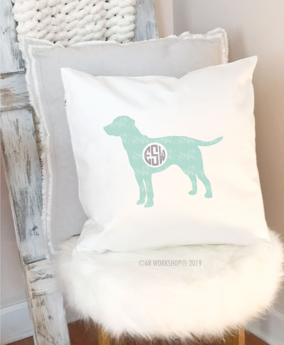 dog monogram pillow