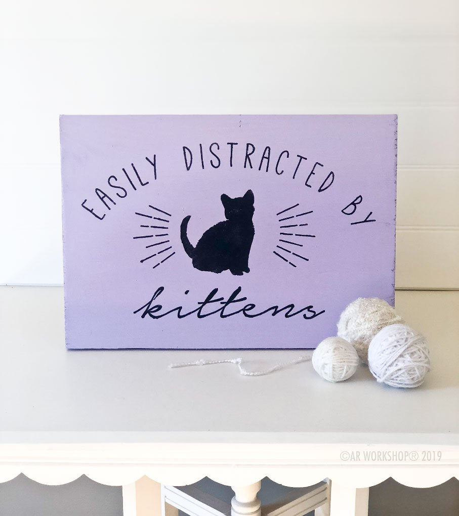 easily distracted by kittens youth plank sign 12x16
