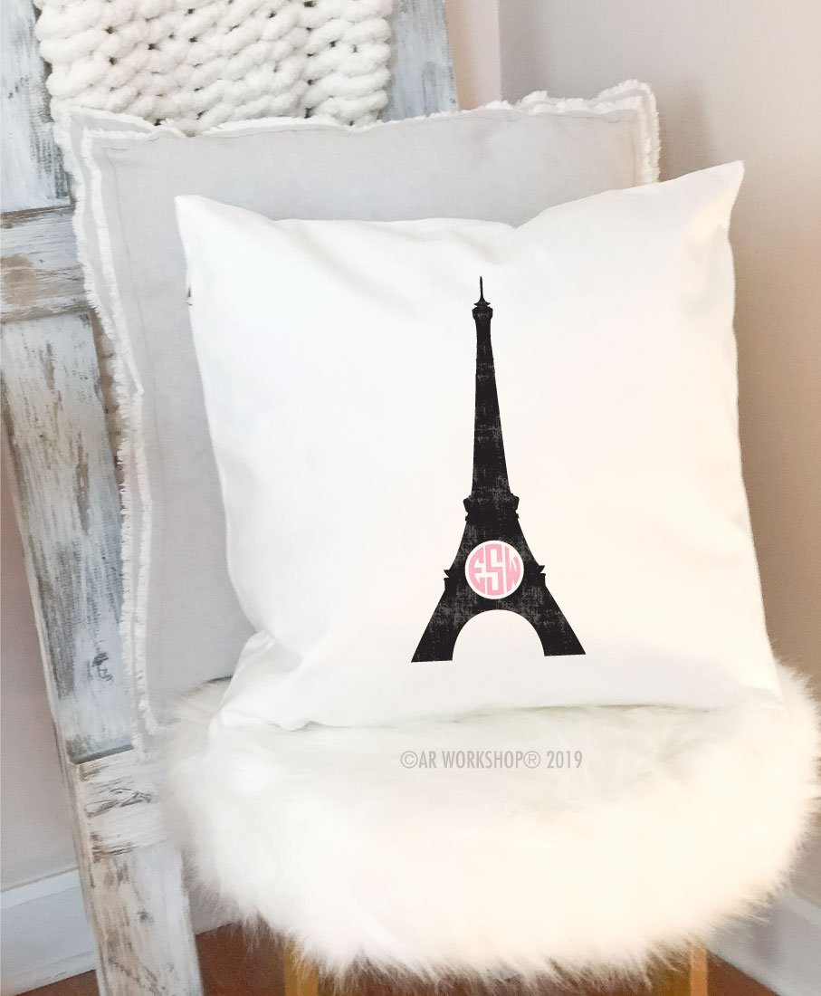 eiffel tower monogram pillow