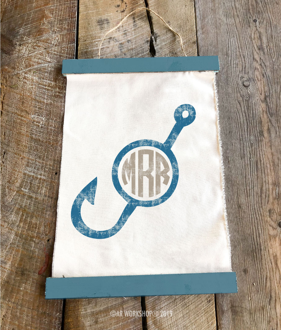 fishing hook monogram canvas wall hanging