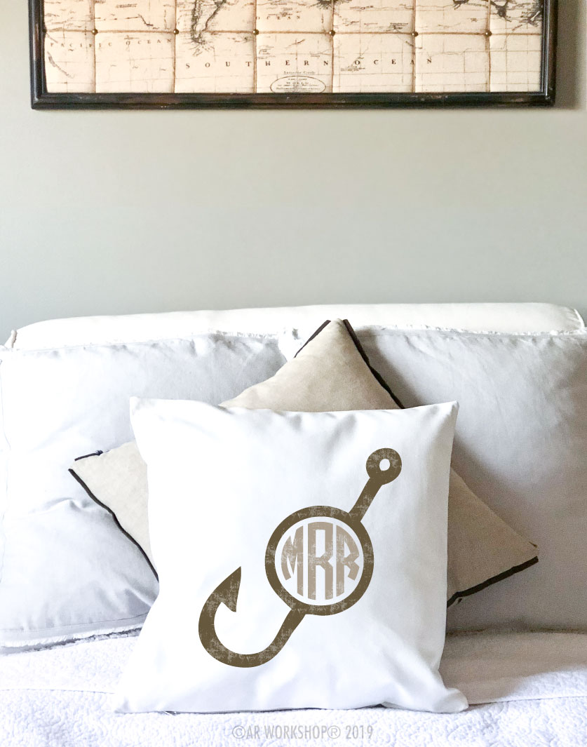 fishing hook monogram pillow