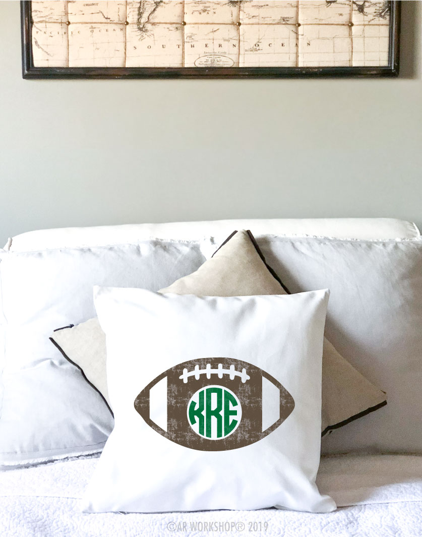 football monogram pillow