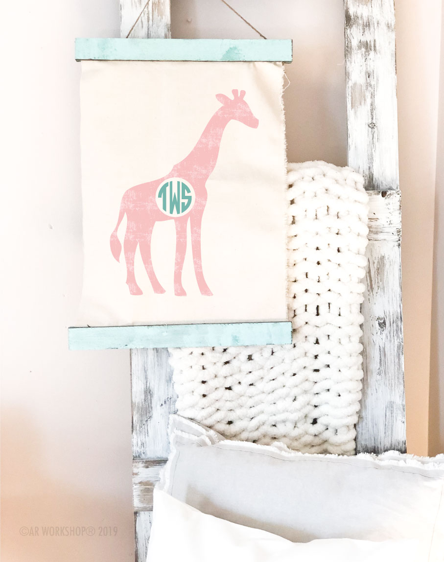 giraffe monogram canvas wall hanging