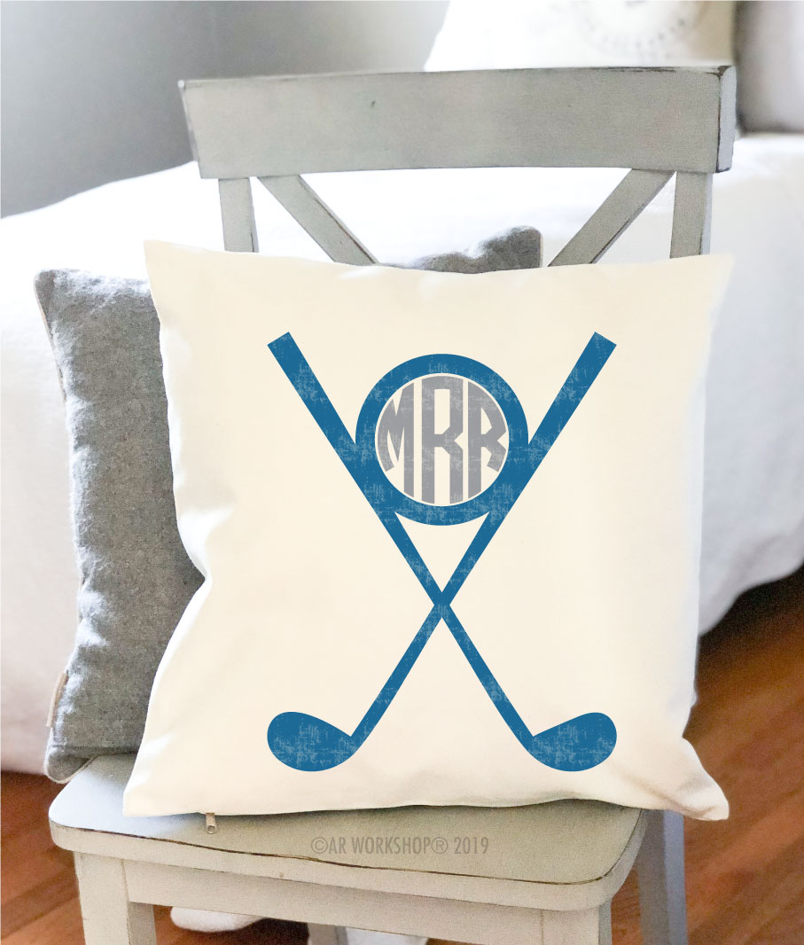 golf monogram pillow