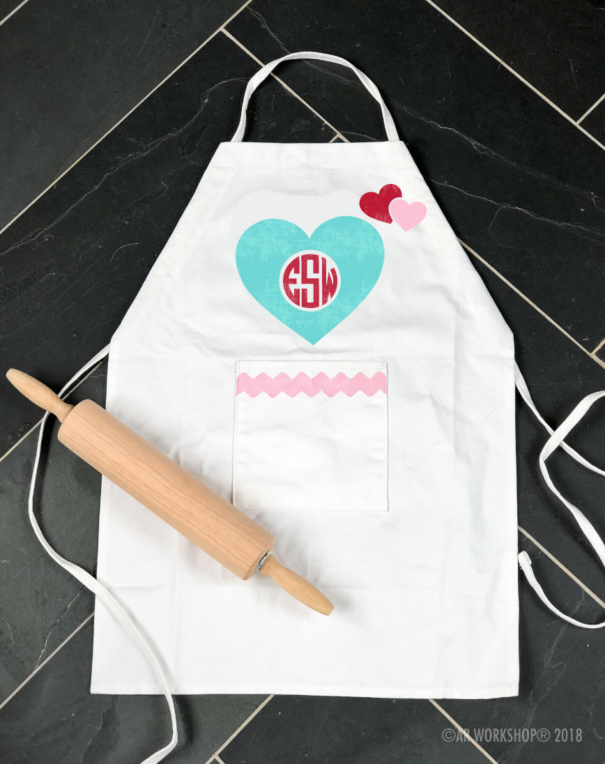 Hearts Monogram Youth Apron