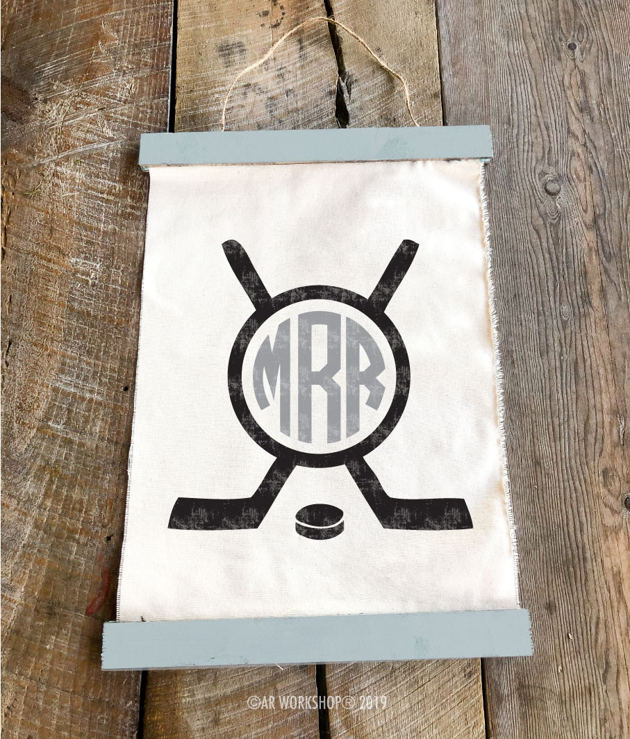 hockey monogram canvas wall hanging