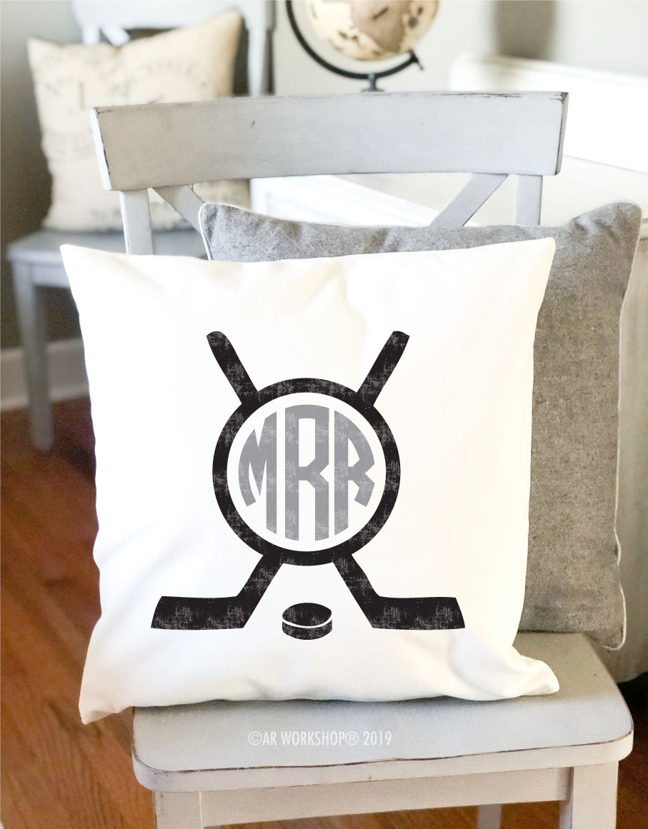 hockey monogram pillow