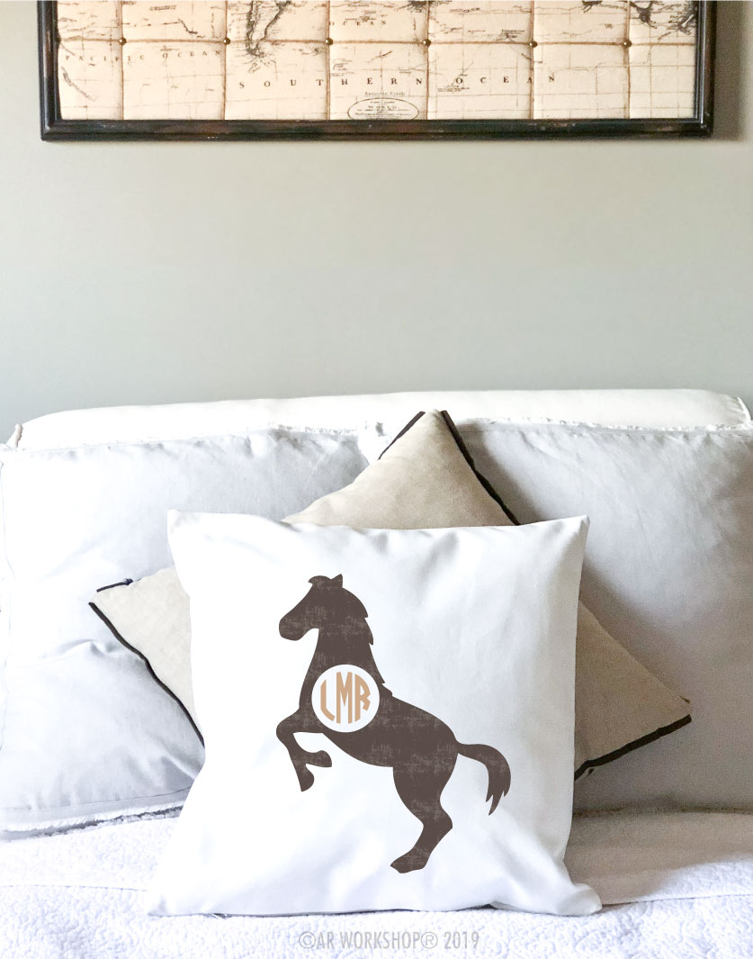 horse monogram pillow