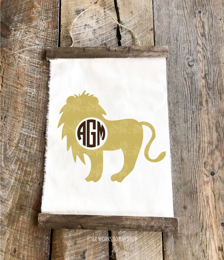 lion monogram canvas wall hanging