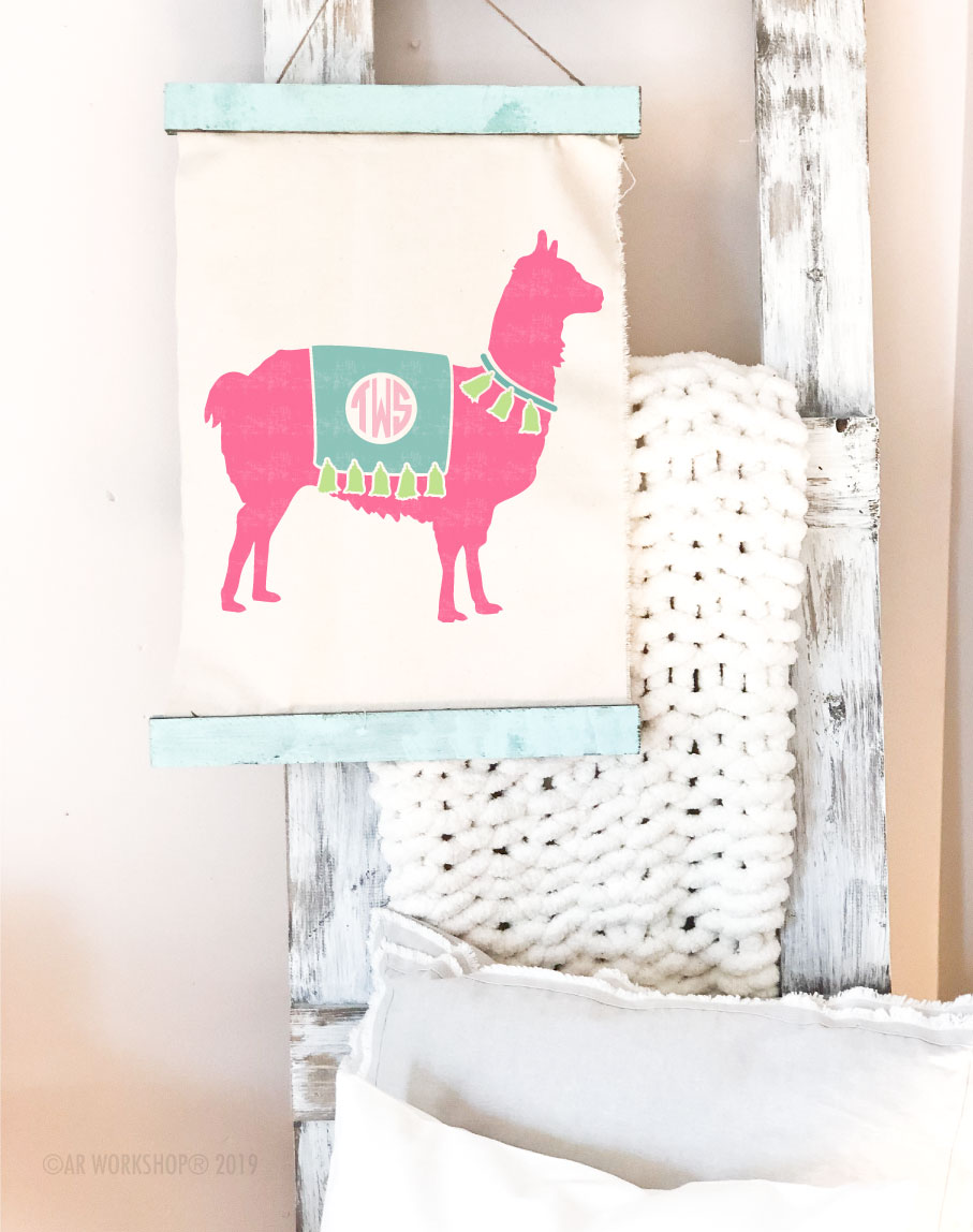 llama monogram canvas wall hanging
