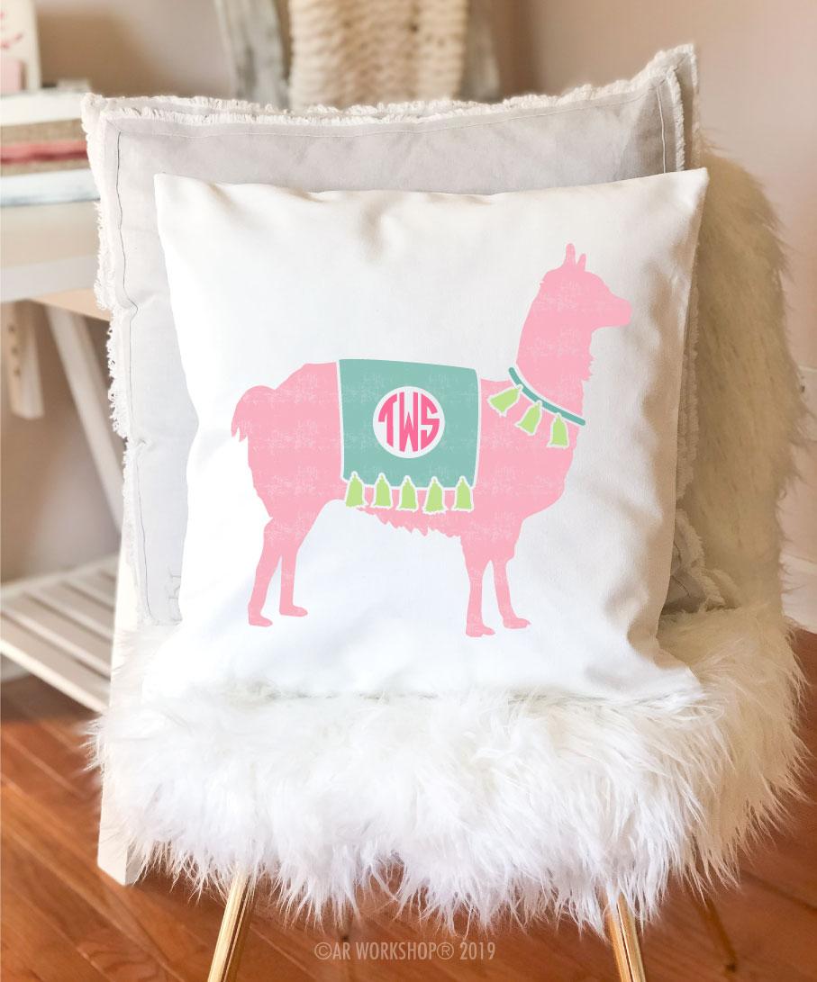 llama monogram pillow