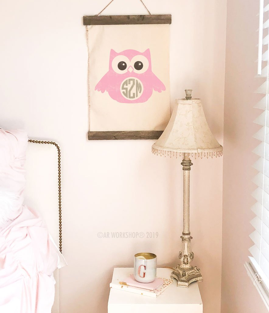 owl monogram canvas wall hanging