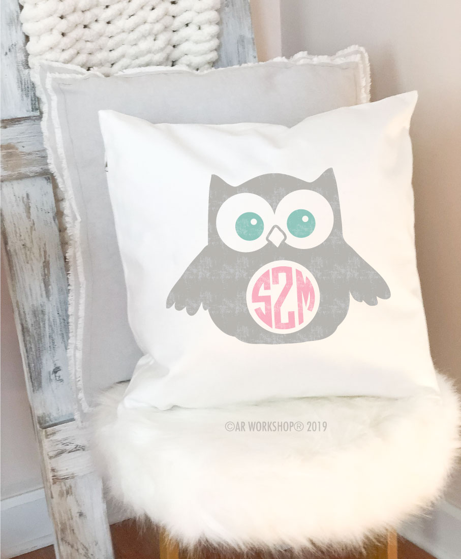 owl monogram pillow