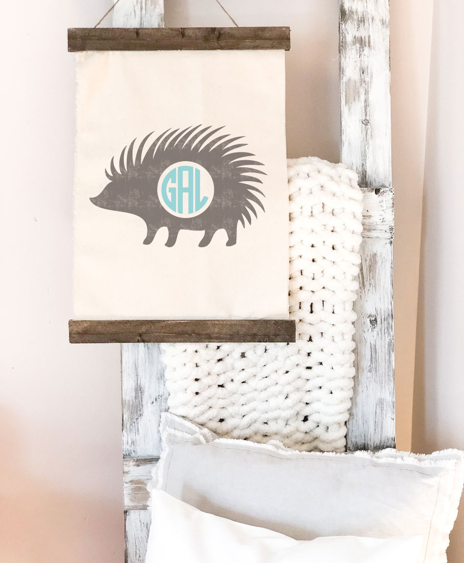 porcupine monogram canvas wall hanging