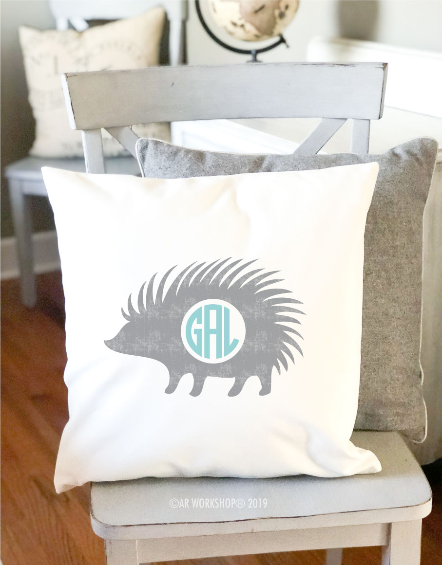 porcupine monogram pillow