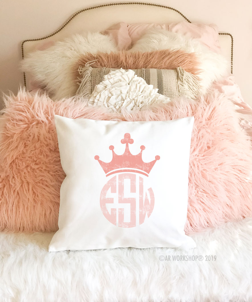 princess crown monogram pillow